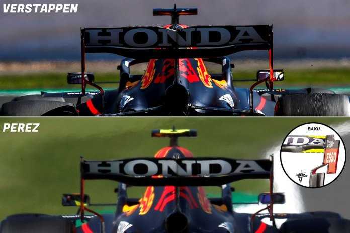 Red Bull RB16B low downforce rear wing comparison