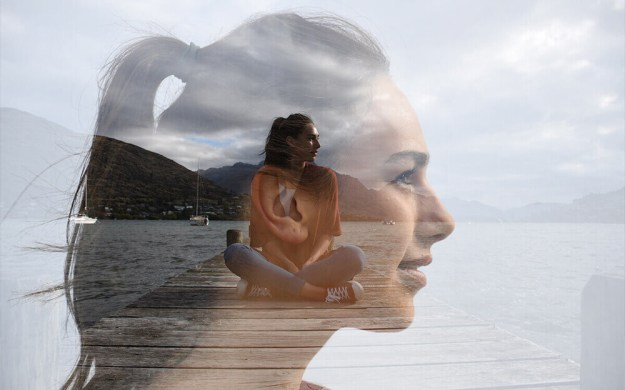 Multiple exposure photo of a woman sitting on a dock and close up of her in profile