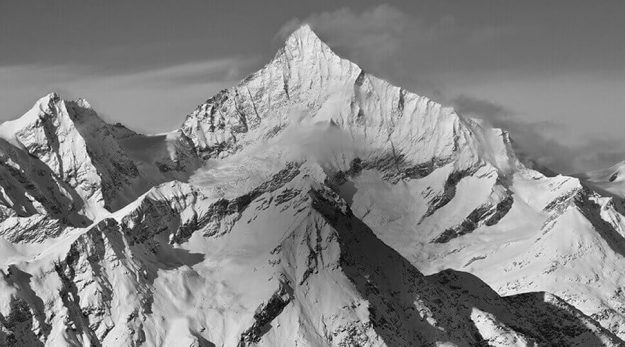 B&W Photo of mountains, shot using the Monochrome Picture Control