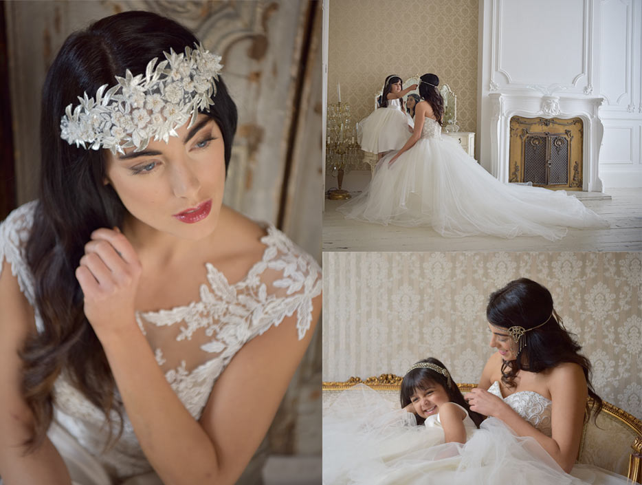 A photo of a bride in collage with two photos of a bride and flower girl, all shot with the AF-S NIKKOR 24-70mm f/2.8E ED VR