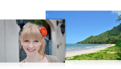 Photo of a island's beach landscape inset with a photo of a woman with a red flower in her hair
