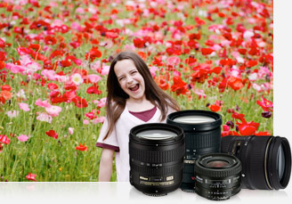 Photo of a girl in a field of red and pink flowers inset with a grouping of four NIKKOR lenses
