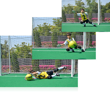 Three action photos of a boy playing goalie in a soccer net catching the ball