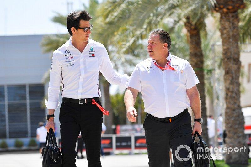 Toto Wolff, Executive Director (Business), Mercedes AMG and Zak Brown, McLaren Executive Director