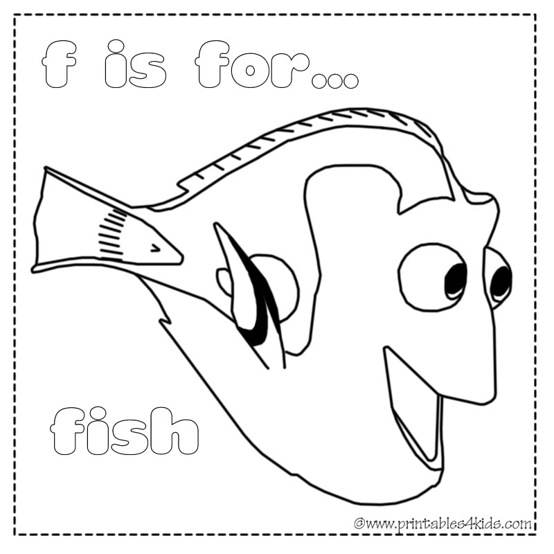 is for fish coloring page printables for kids free word search