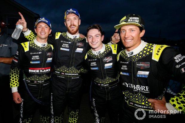 Aaron Telitz, Jack Hawksworth, Zach Veach and Frankie Montecalvo celebrate the Vasser Sullivan Lexus 1-2 in Watkins Glen's 2hr40 race.
