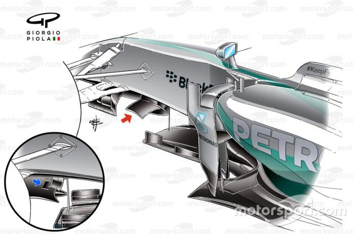 Mercedes W05 wing detail