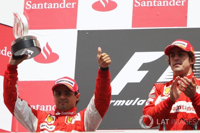Podium: first place Fernando Alonso, Ferrari, second place Felipe Massa