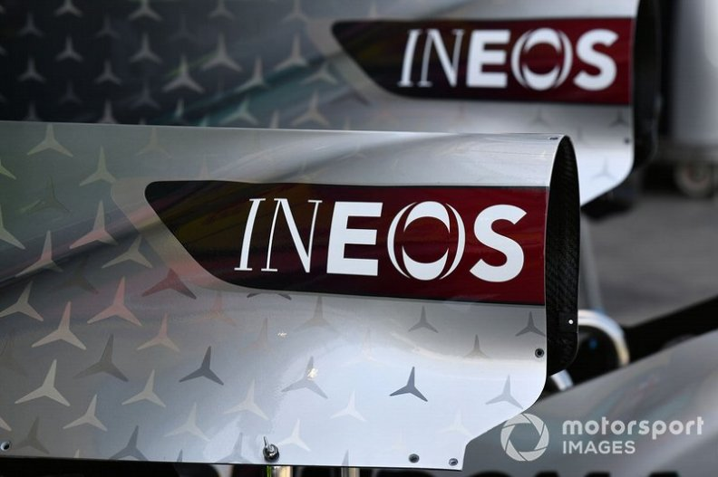 The INEOS logo on the bodywork of the Mercedes F1 W11