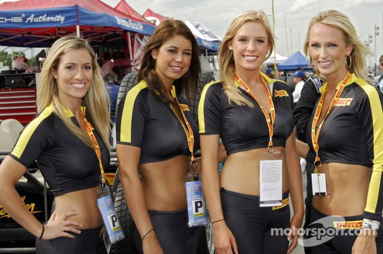 The Pirelli girls in pit lane at Watkins Glen