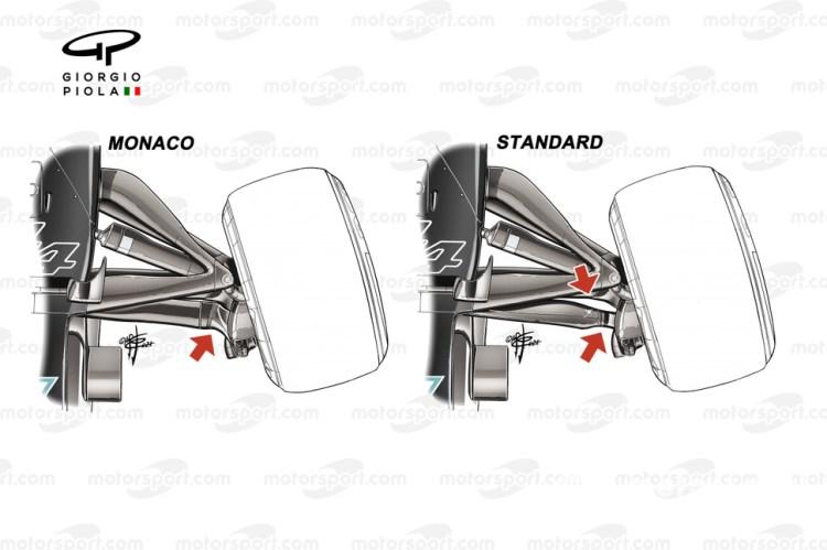 Il braccio dello sterzo della Mercedes W12 di Monaco a confronto con quello standard