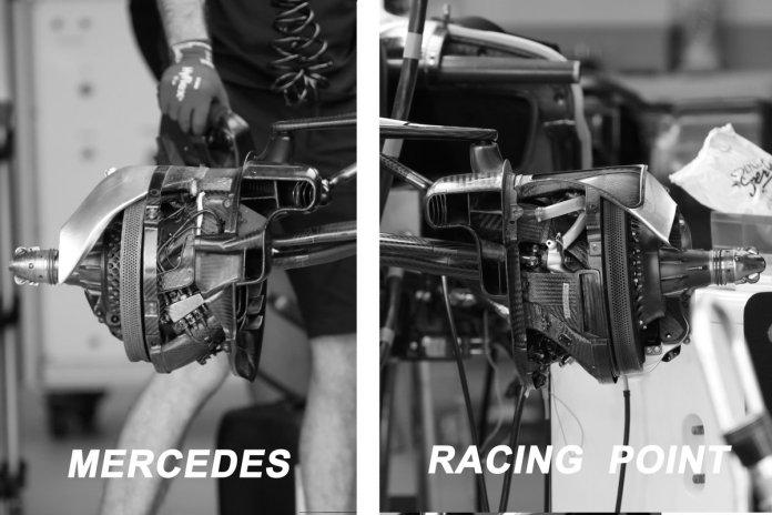 Confronto dei freni anteriori di Mercedes-W11 e Racing Point RP 20