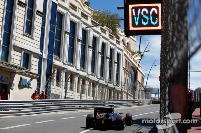 Stoffel Vandoorne, ART Grand Prix, passes under a 'VSC - Virtual Safety Car' board