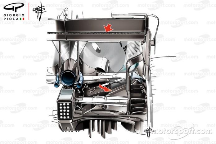 Mercedes AMG F1 W10 serrated rear wing