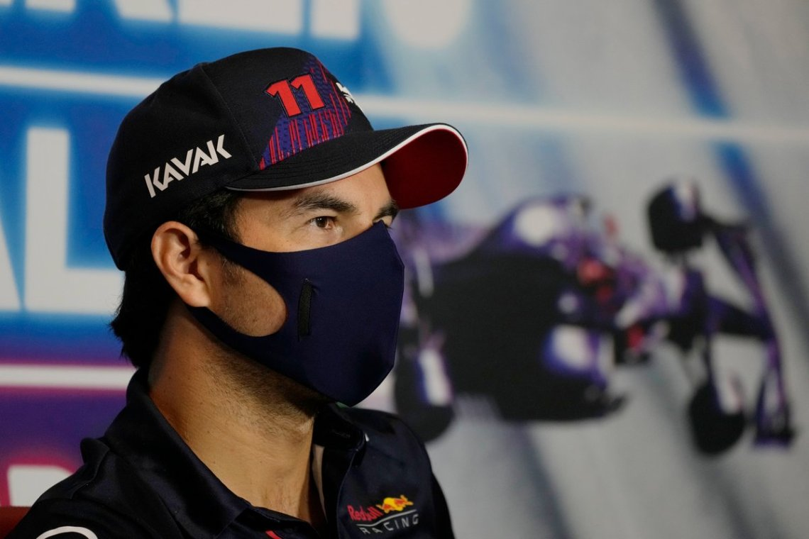 Sergio Perez, Red Bull Racing RB16B at the press conference