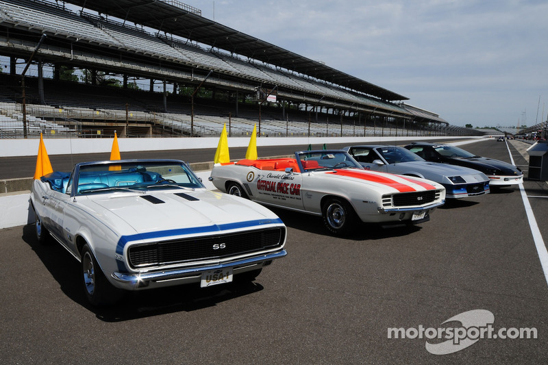 The Chevy Camaro Indy 500 pace cars from 1967, '69, '82 and '93.
