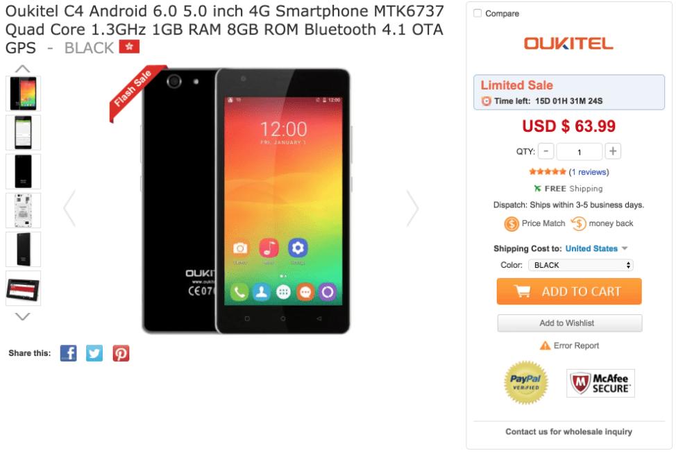 Oukitel C4 Android 6.0 5.0 inch 4G Smartphone MTK6737 Quad Core 1.3GHz 1GB RAM 8GB ROM Bluetooth 4.1 OTA GPS