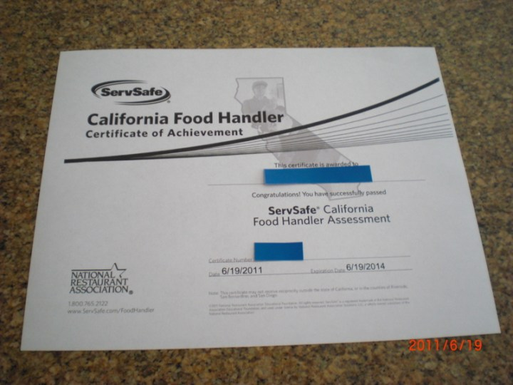 California Food Handlers Card Servsafe Ziesite