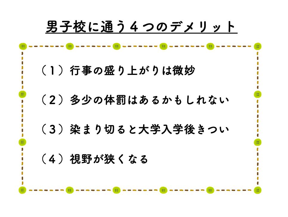男子校に通う4つのデメリットを表した図