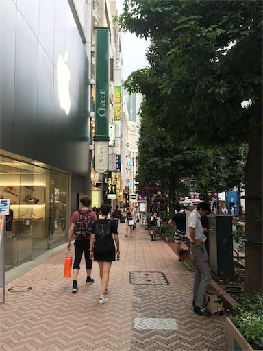 アップルストア渋谷店の前です。iPhone7発売前日17時でしが、まだ誰も並んでいません。