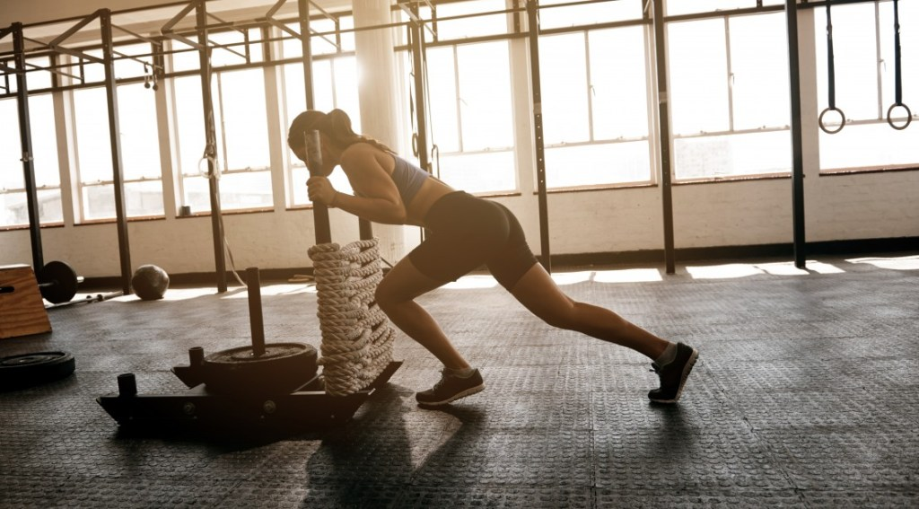 Woman Working Out With Sled Pushes