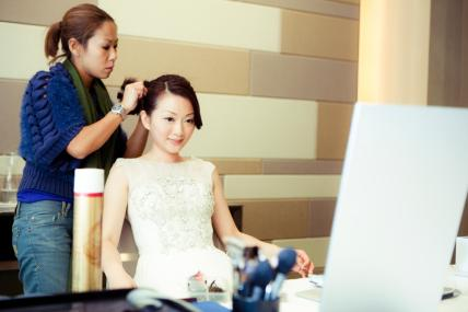 Behind the scene for HK wedding day