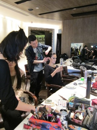Kalamakeup makeup & hair styling for fashion shows for Leonard