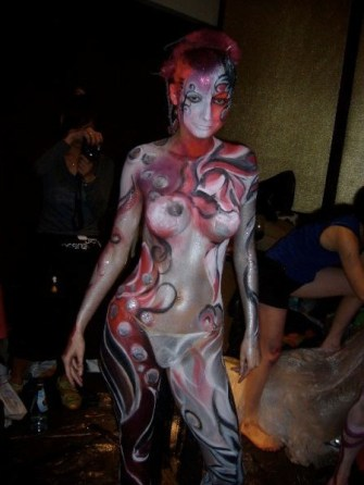 Kalamakeup body painting for Armani Bar Hong Kong