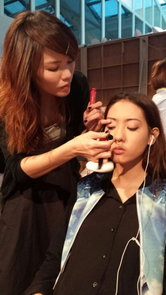 Kate Spade fashion show makeup hair behind the scene