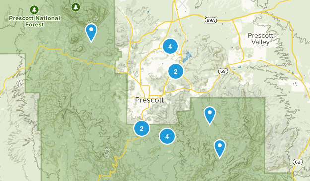 Map Cities Around Prescott Az