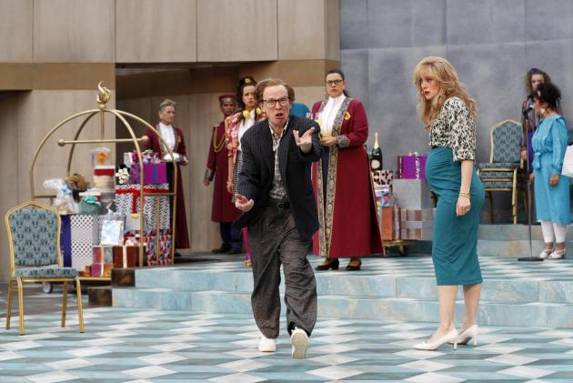 Actors from the Royal Shakespeare Company rehearsing scenes from the Bard&rsquo;s <em>The Comedy of Errors</em> at the open-air theatre.