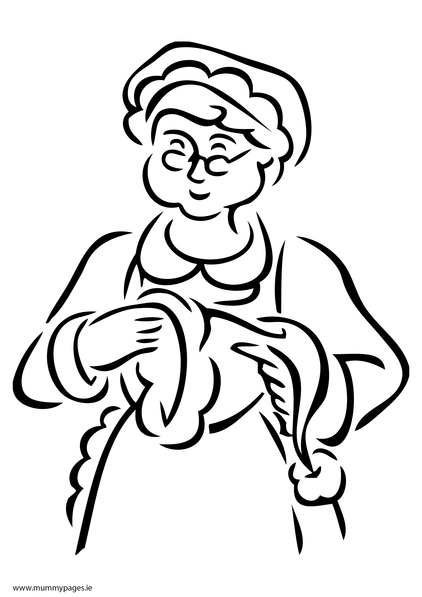 mrs claus colouring page mummypages mummypages ie