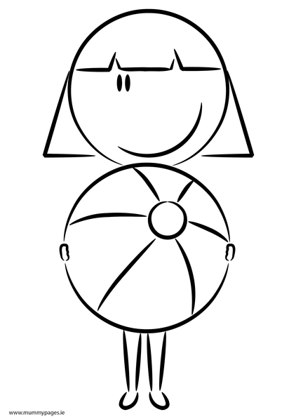 girl with beach ball colouring page mummypages mummypages ie