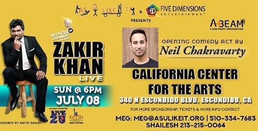 zakir khan live hindi stand up comedy san diego show at california center for the arts escondido california