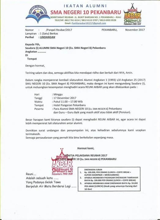Reuni Akbar Sma N 10 Pekanbaru At Hotel Pangeran Pekanbaru Kota