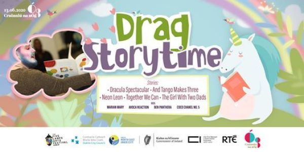 Drag Storytime promotional image with Avoca Reaciton reading, one of the queer digital events in June
