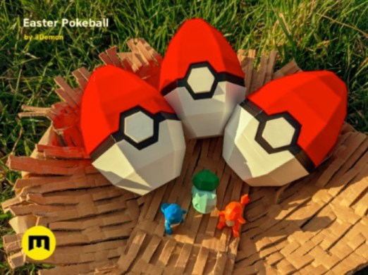 Pokeball Easter Egg Box Decoration by 3D mon Thingiverse