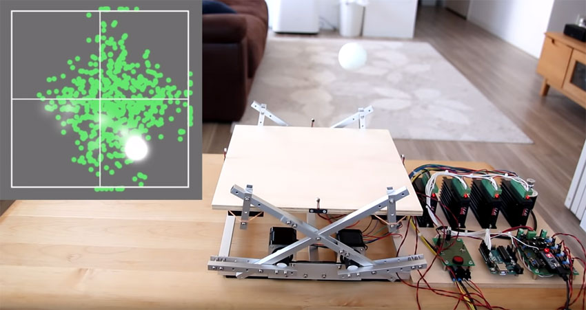 Máquina para hacer rebotar una bola de Ping Pong hecha con Arduino