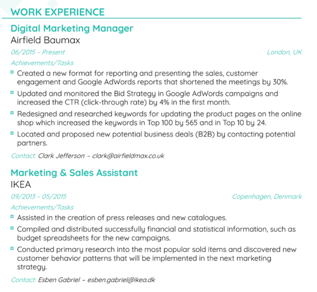 Work Experience on a Resume - How to List It Right