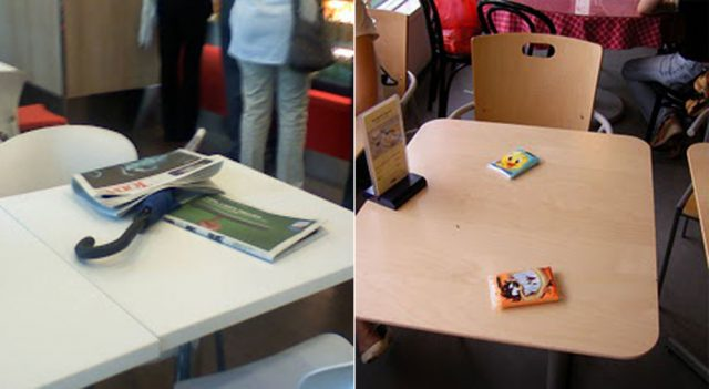 items Singaporeans use to chope seats