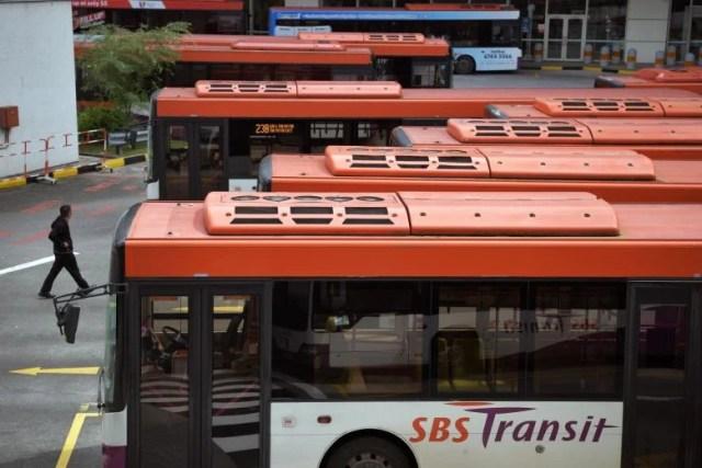 SBS Transit buses parked at interchange