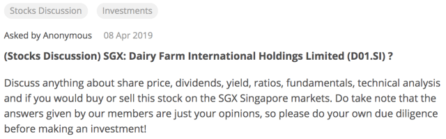 Screen Shot of Seedly Dairy Farm Stocks Discussion