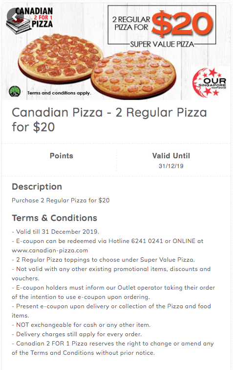 Canadian Pizza, 2 regular pizza for $20 NDP Promo