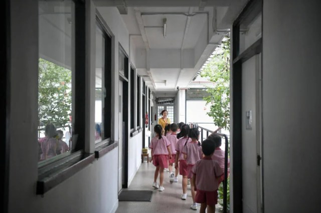 Pre-School Kids Outside Classroom