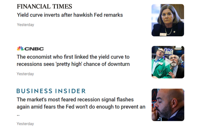Financial news on Yield Curve invesion
