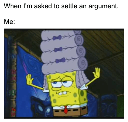 Spongebob With A Powdered Wig Settling An Argument