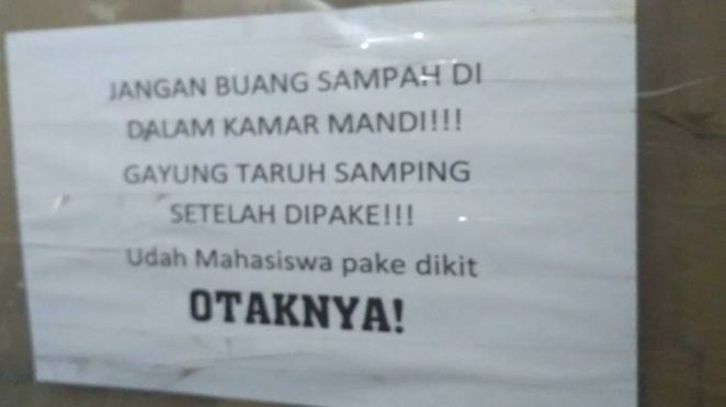 peringatan di toilet kos berbagai sumber