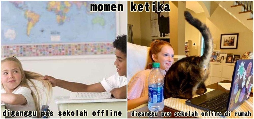 meme beda sekolah offline dan online Berbagai sumber
