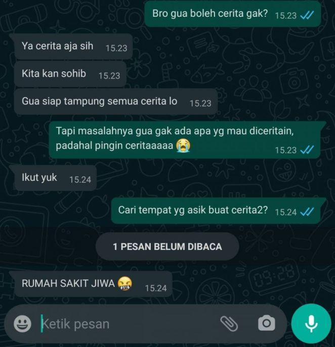 chat ngawur dengan teman dekat Instagram