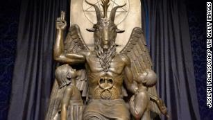 The Baphomet statue is seen at the Satanic Temple in Salem, Massachusetts, in 2019.